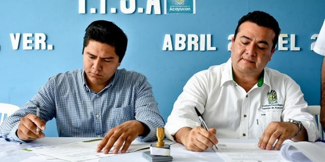 El Tecnológico de Acayucan firma convenio con el Ayuntamiento de Jáltipan
