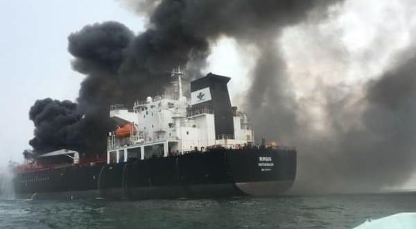 Petróleos Mexicanos atiende incendio en el buquetanque Burgos