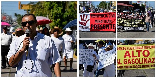 Marchan en Minatitlán en contra del aumento a las gasolinas.