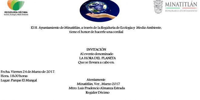 """En Minatitlán llevaran a cabo el evento denominado """"La Hora del Planeta"""""""