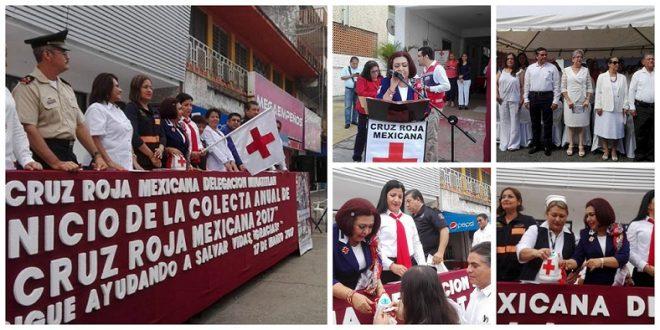 Dan banderazo del inicio de la Colecta de la Cruz Roja en Minatitlán.